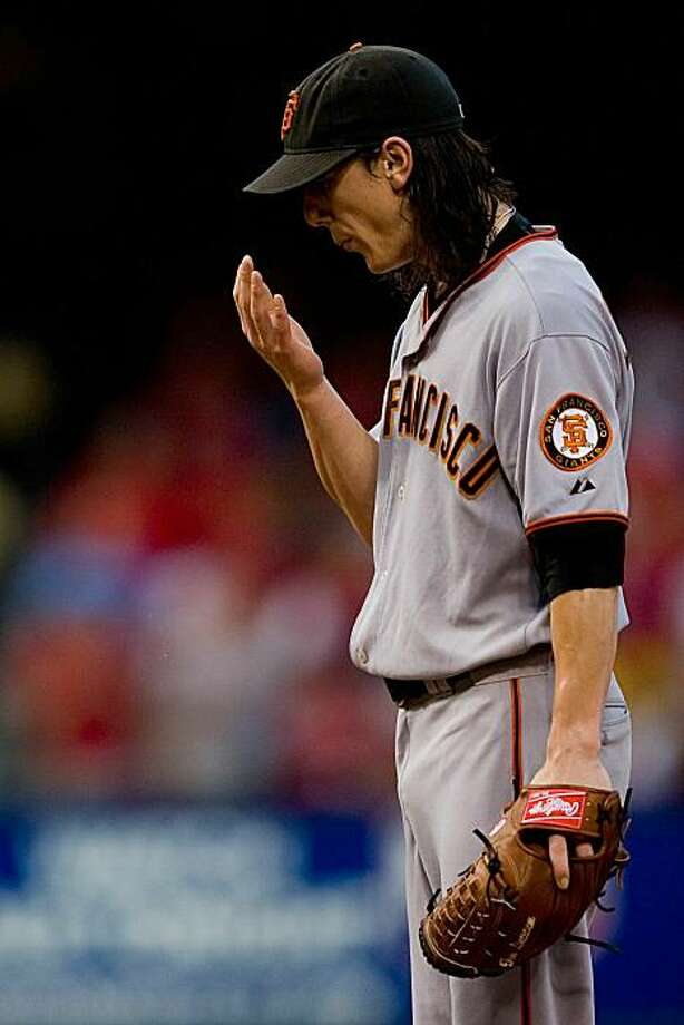 ST. LOUIS - AUGUST 21: Starter Tim Lincecum #55 of the San Francisco Giants reacts to giving up a home run against the St. Louis Cardinals at Busch Stadium on August 21, 2010 in St. Louis, Missouri. Photo: Dilip Vishwanat, Getty Images