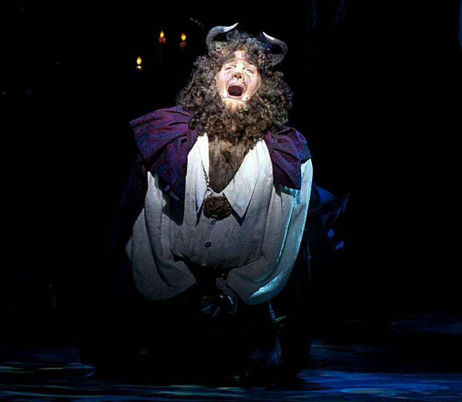The Beast, played by Justin Glaser, sings of his longing for love during the preview show of Beauty and Beast at the Golden Gate Theatre in San Francisco, Calif., on Thursday, August 17, 2010. Photo: Chad Ziemendorf, The Chronicle