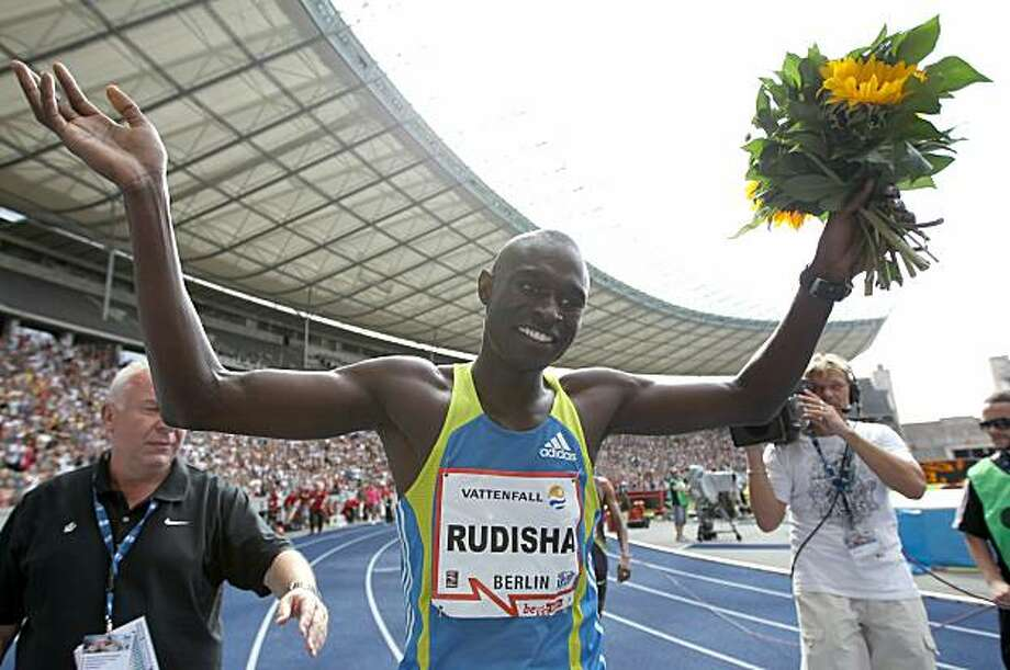 BERLIN - AUGUST 22:  David Lekuta Rudisha of Kenya celebrates the victory and the new world record in the men's 800m during the IAAF World Challenge ISTAF 2010 at the Olympic Stadium on August 22, 2010 in Berlin, Germany.  (Photo by Boris Streubel/Bongarts/Getty Images) Photo: Boris Streubel, Bongarts/Getty Images