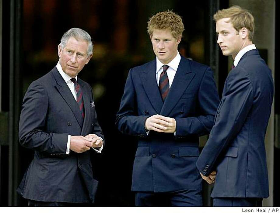 "** FILE ** In this file photo dated Aug. 31, 2007, Britain's Prince Charles, left, Prince Harry, center, and Prince William, right, arrive for the Memorial Service for Diana, Princess of Wales at the Guards' Chapel in central London. Princes William and Harry said Tuesday, Jan. 6, 2009 they have been granted their own royal ""household"" by their grandmother, Queen Elizabeth II. The household the two princes will share will have three main staff members, supported by a ""small"" team. (AP Photo/Leon Neal, Pool-File) Photo: Leon Neal, AP"