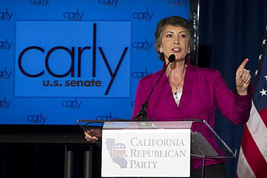 California GOP Senate challenger Carly Fiorina speaks to supporters at the California Republican Party 2010 Fall Convention Saturday, Aug. 21, 2010, in San Diego. Photo: Chris Park, AP