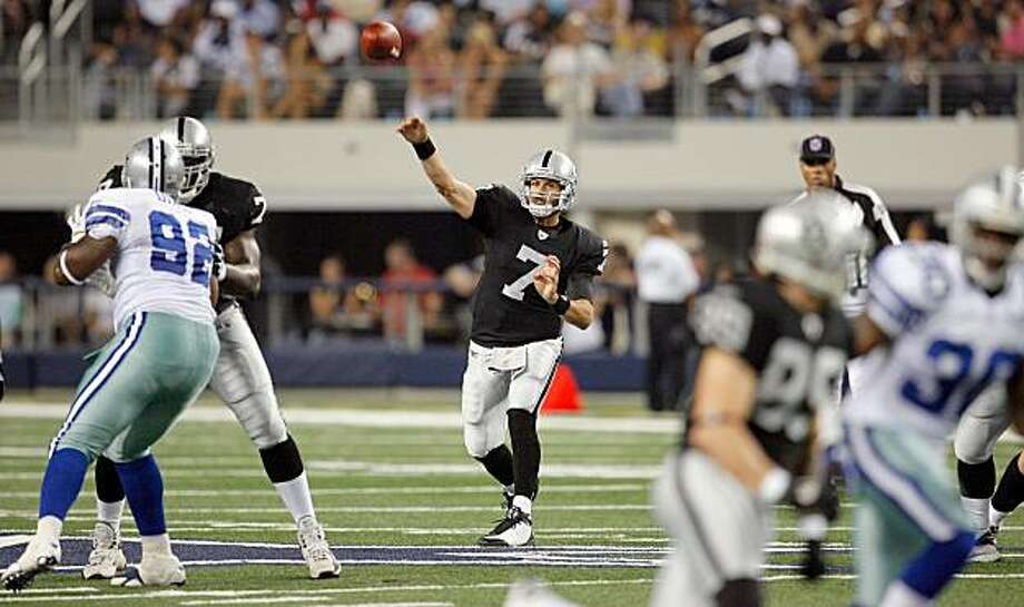 ARLINGTON, TX - AUGUST 12:  Kyle Boller #7 of the Oakland Raiders throws to a receiver in the preseason game against the Dallas Cowboys at Dallas Cowboys Stadium on August 12, 2010 in Arlington, Texas. Photo: Tom Pennington, Getty Images