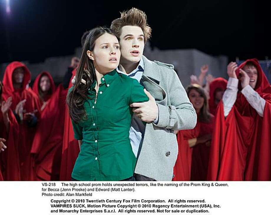 "The high school prom holds unexpected terrors, like the naming of the Prom King & Queen, for Becca (Jenn Proske) and Edward (Matt Lanter) in, ""Vampires Suck."" Photo: Alan Markfield, Twentieth Century Fox"