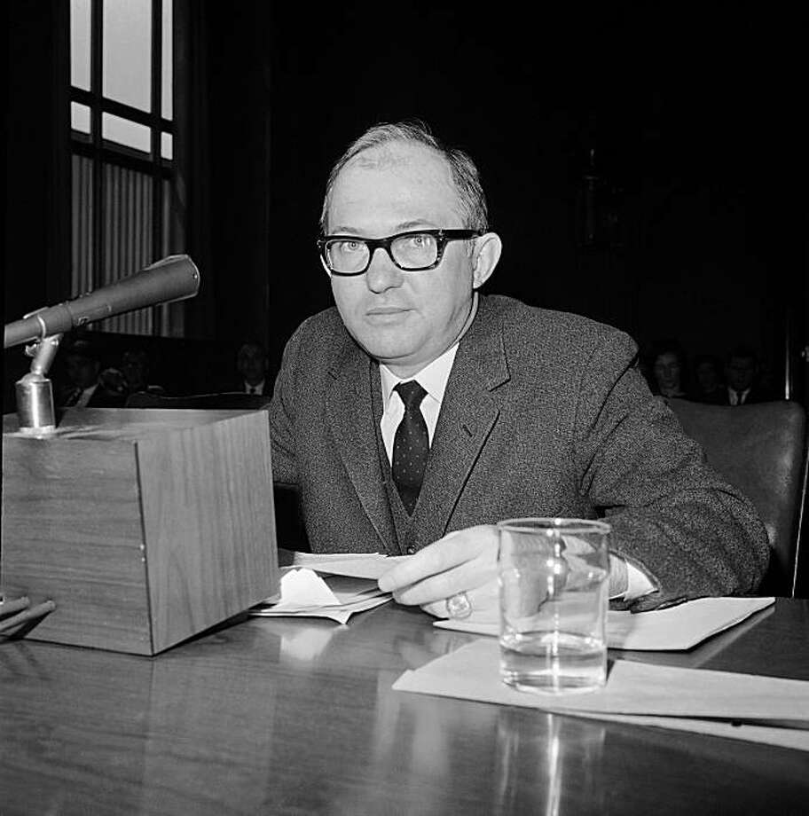 In this April 1, 1965 black-and-white file photo, then-Richmond News Leader editor James J. Kilpatrick, testifies on Capitol Hill in Washington. Kilpatrick's wife says the widely syndicated political columnist has died at age 89. Photo: Henry Griffin, AP
