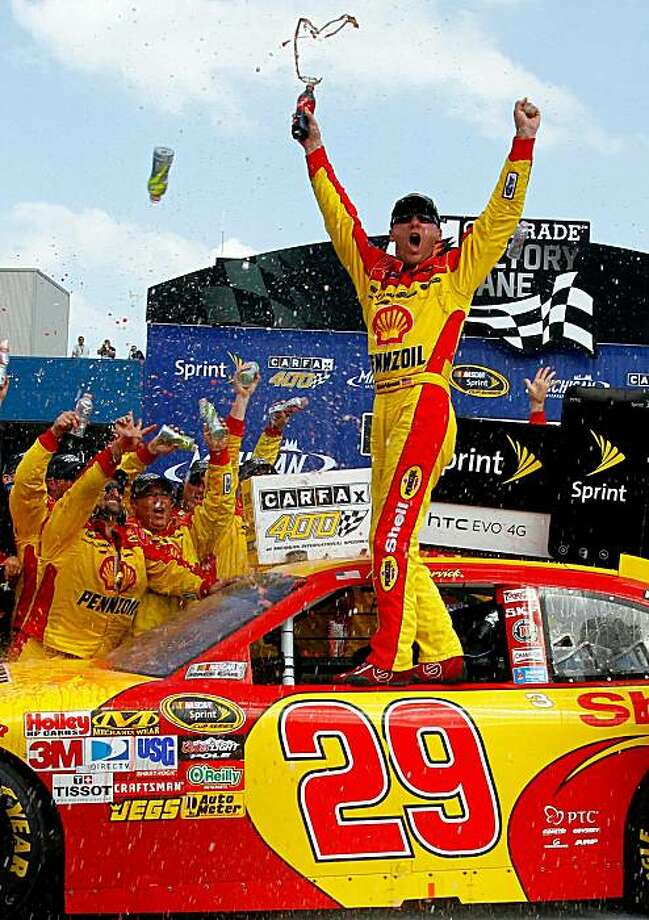 BROOKLYN, MI - AUGUST 15:  Kevin Harvick, driver of the #29 SHell / Pennzoil Chevrolet, celebrates with his crew in victory lane after he won the NASCAR Sprint Cup Series CARFAX 400 at Michigan International Speedway on August 15, 2010 in Brooklyn, Michigan.  (Photo by Jason Smith/Getty Images for NASCAR) Photo: Jason Smith, Getty Images For NASCAR
