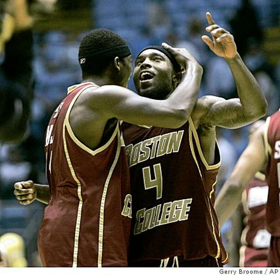 Boston College's Tyrese Rice (4) and Corey Raji celebrate following a game against North Carolina in Chapel Hill, N.C., Sunday, Jan. 4, 2009. Boston College upset No. 1 ranked North Carolina 85-78. Photo: Gerry Broome, AP