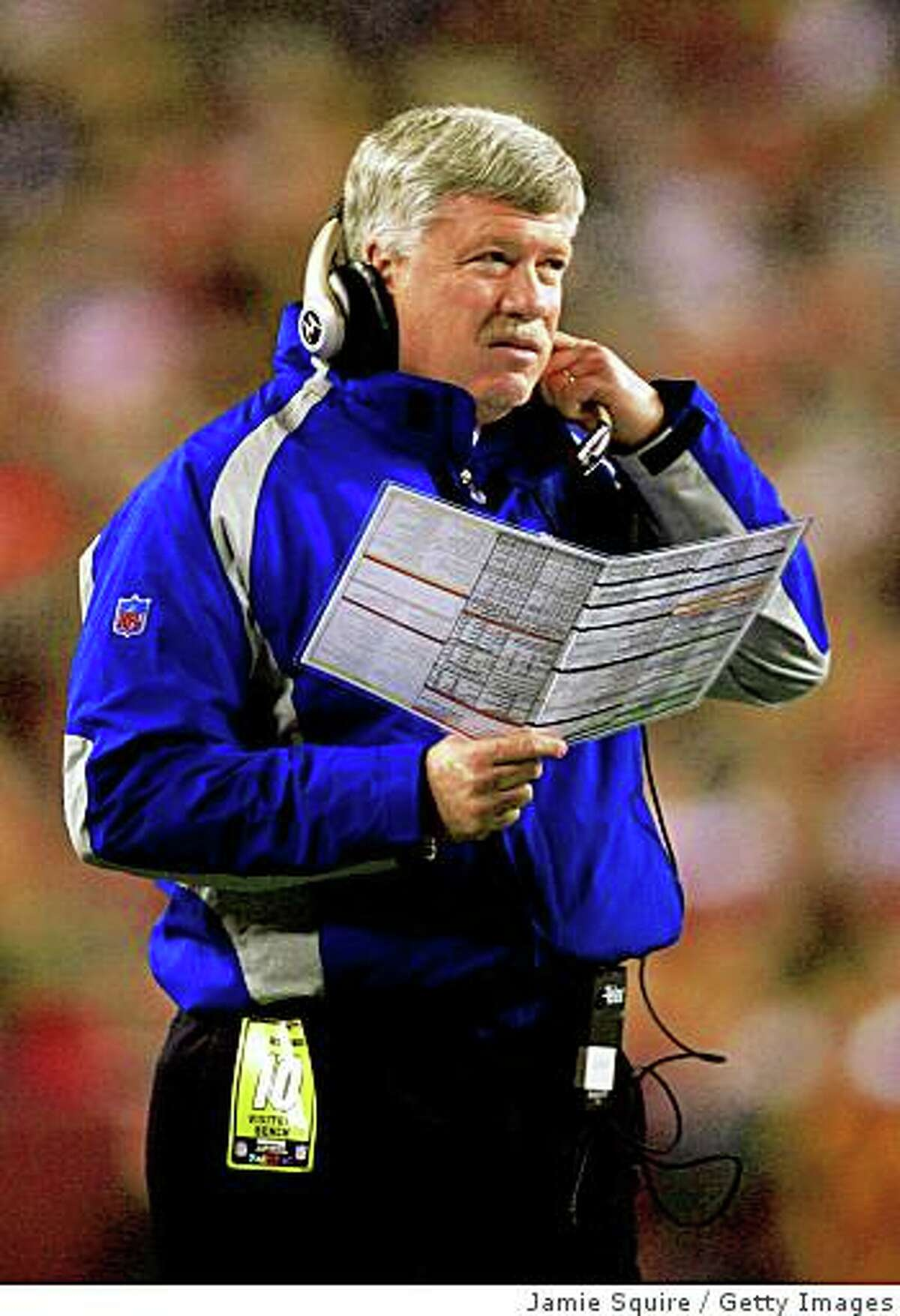 LANDOVER, MD - DECEMBER 30: Quarterbacks coach Kevin Gilbride looks on from the sidelines against the Washington Redskins at FedEx Field on December 30, 2006 in Landover, Maryland. (Photo by Jamie Squire/Getty Images)