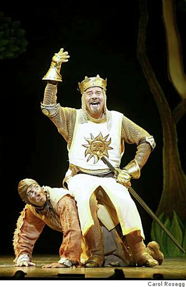 "Gary Beach as King Arthur and Brad Bradly as Patsy in ""Spamalot,"" coming to the Golden Gate Theatre May 22-July 5, 2009. Photo: Carol Rosegg"