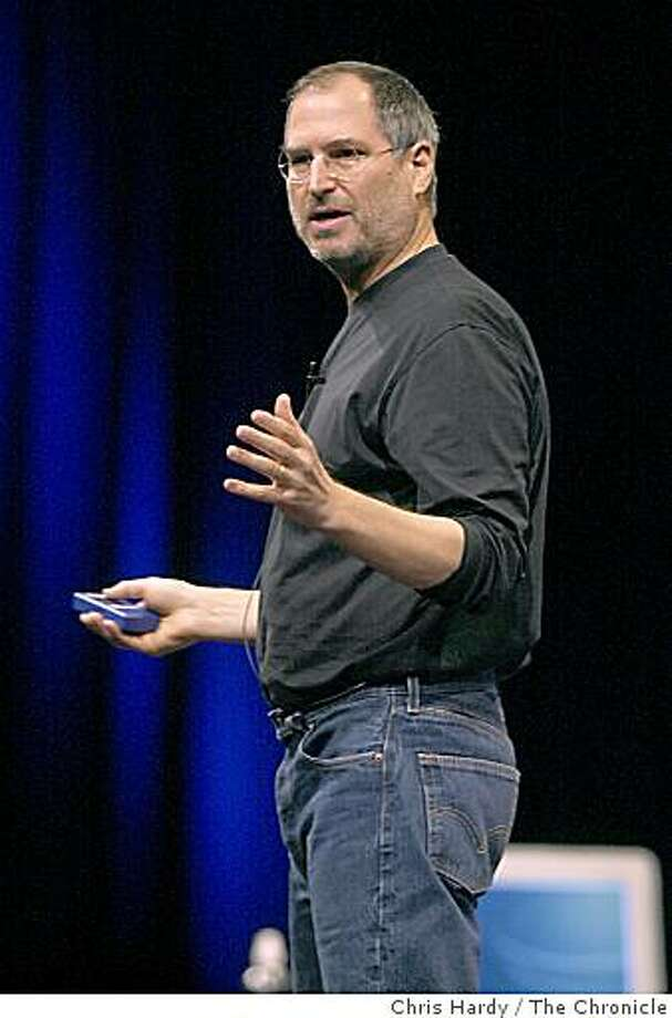 Apple CEO Steve Jobs introduces a new iPod in San Francisco on April 8, 2003. Photo: Chris Hardy, The Chronicle