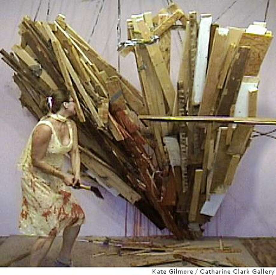 """Frame from """"Heart Breaker"""" (2004) single-channel video by Kate Gilmore Photo: Kate Gilmore, Catharine Clark Gallery"""