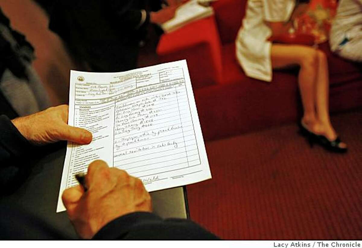 Ed Walsh of the San Francisco Health Department fills out a inspection report, Tuesday Nov. 25, 2008 during a surprise visits to the Moonlight Spa massage parlor, in San Francisco, Calif.