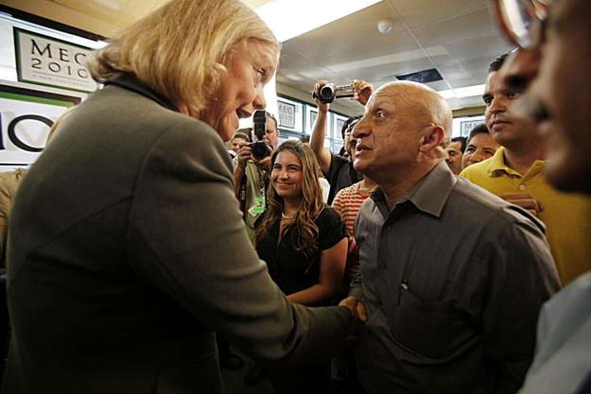 Republican gubernatorial candidate Meg Whitman speaks to supporters about her plan to create jobs at her office opening event in East Los Angeles on Wednesday, Aug. 4, 2010, in Los Angeles, Calif.