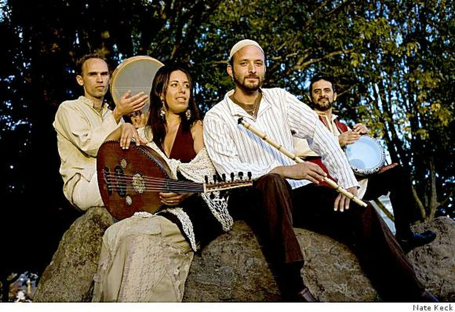 The Qadim Ensemble (from Left: John Villa, Rachel Valfer, Eliyahu Sills and Faisa Zedan) performs Jan. 10 at the Red Poppy Art House in San Francisco. (208) Photo: Nate Keck
