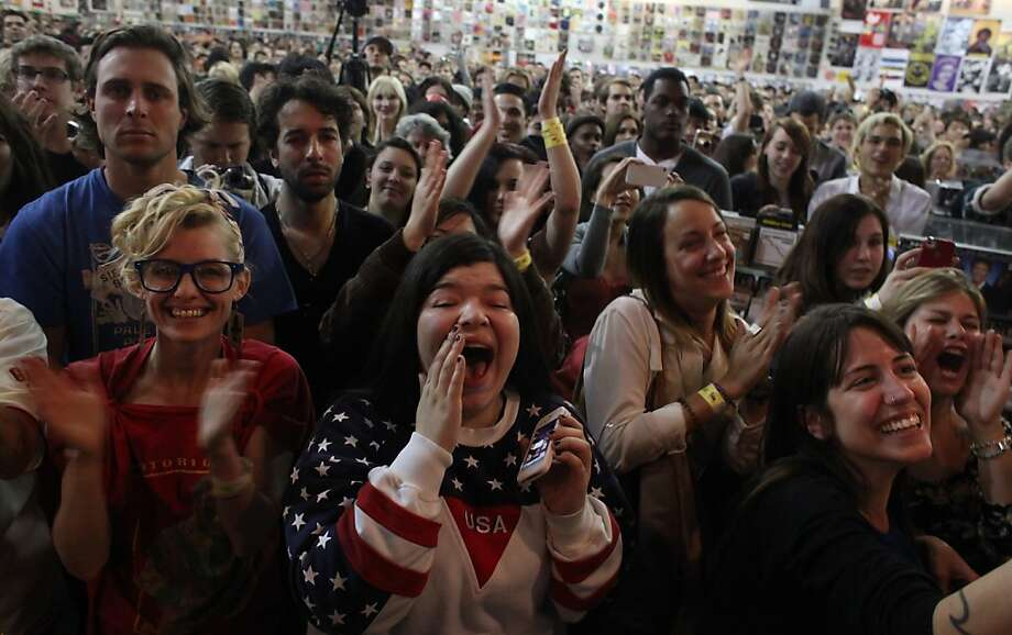 Rachel Overcash, left, and Angela Zuniga, center scream along with the hundreds as they watch pop star Lana Del Rey performs, Thursday February 9, 2012, at the Amoeba Music store in San Francisco, Calif. Photo: Lacy Atkins, The Chronicle