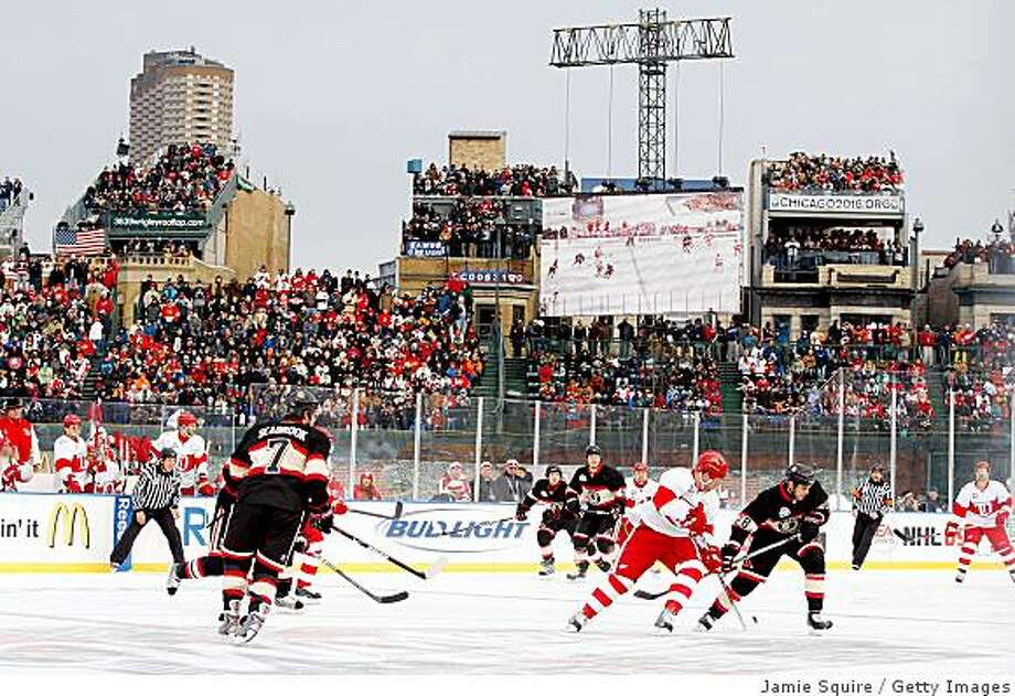 CHICAGO - JANUARY 01:  A general view of action between the Chicago Blackhawks and the Detroit Red Wings during the NHL Winter Classic at Wrigley Field on January 1, 2009 in Chicago, Illinois.  (Photo by Jamie Squire/Getty Images) Photo: Jamie Squire, Getty Images