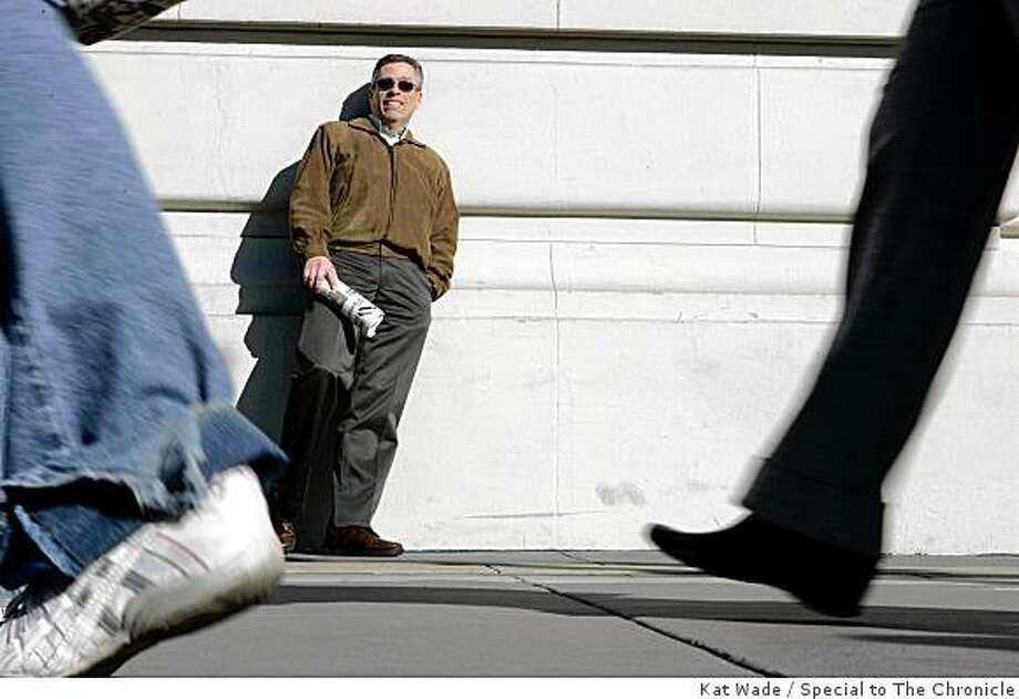 "According to Mike LaPoint, Experience Unlimited, a support group for unemployed professionals that he found through the EDD ""got me out of the house.  Got me connected.  Got me around people and out of isolation,"" as he strolls The Embarcadero while on lunch break from his new job in San Francisco, Calif. on Tuesday, December 30, 2008.Photo by Kat Wade / Special to the Chronicle Photo: Kat Wade, Special To The Chronicle"