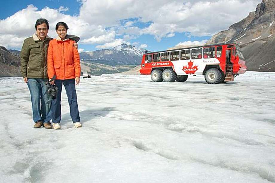 Manish (left) and Priyanka Parekh of San Jose near the Athabasca Glacier in the Columbia Icefields in the Canadian Rockies. Photo: Courtesy Of Manish Parekh