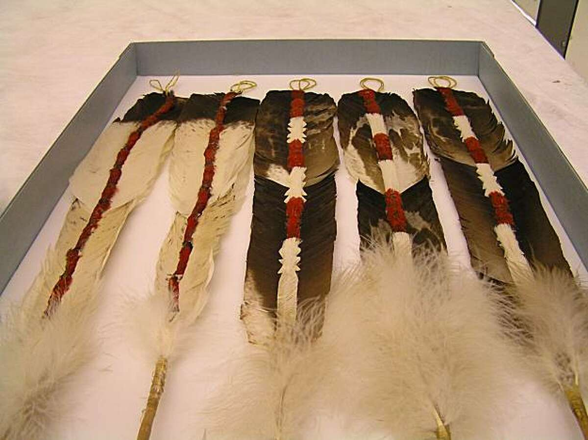 Condor feathers are ornately decorated for the Yurok Tribe?s Jump Dance.