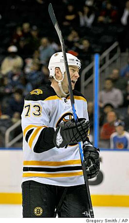 Boston Bruins right wing Michael Ryder (73) reacts during the third period against the Atlanta Thrashers after scoring the go-ahead goal, Sunday, Dec. 28, 2008, during a game at Philips Arena in Atlanta. The Bruins won 2-1. Photo: Gregory Smith, AP