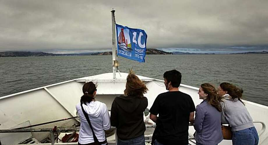 Visitors from Southern California take in the views of the bay from the bow of the San Francisco ferry as it approaches Sausalito Friday August 13, 2010. The Golden Gate Ferry system will celebrate their 40th anniversary serving Fan Francisco, Larkspur and Sausalito this weekend. Photo: Lance Iversen, The Chronicle