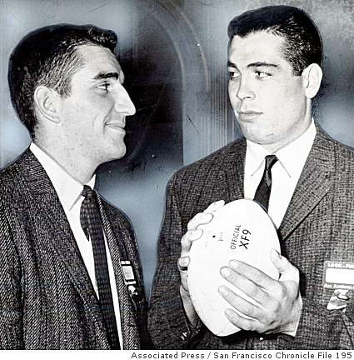 1959_rosebowl.jpg December 5, 1958 - Iowa QB Randy Duncan, left, was named on the AP All-America team and California QB Joe Kapp. They met last night in New York where they are being honored for their gridiron achievements.Associated Press/ San Francisco Chronicle File 1958