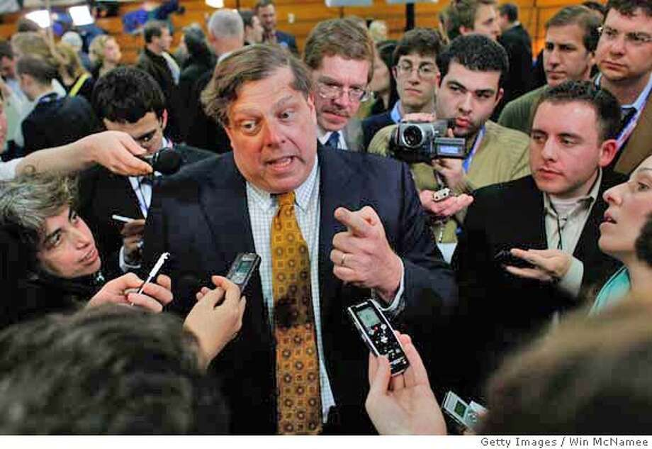 """###Live Caption:MANCHESTER, NH - JANUARY 05: (FILE PHOTO) Mark Penn, chief strategist and pollster for Democratic presidential candidate Sen. Hillary Clinton, speaks to reporters in the """"spin room"""" after the Democratic debate at Saint Anselm College January 5, 2008 in Manchester, New Hampshire. Penn stepped down as chief strategist of Hillary Clinton's presidential campaign April 6, 2008, although he will continue to informally advise the campaign. (Photo by Win McNamee/Getty Images)###Caption History:MANCHESTER, NH - JANUARY 05: (FILE PHOTO) Mark Penn, chief strategist and pollster for Democratic presidential candidate Sen. Hillary Clinton, speaks to reporters in the """"spin room"""" after the Democratic debate at Saint Anselm College January 5, 2008 in Manchester, New Hampshire. Penn stepped down as chief strategist of Hillary Clinton's presidential campaign April 6, 2008, although he will continue to informally advise the campaign. (Photo by Win McNamee/Getty Images)###Notes:FILE PHOTO: Mark Penn Steps Down As Clinton Campaign Strategist###Special Instructions:FILE PHOTO Photo: Win McNamee"""