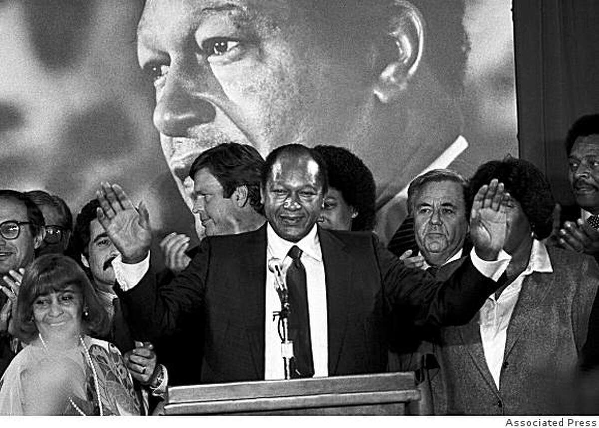 Los Angeles Mayor Tom Bradley reacts to supporters cheers Tuesday, Nov. 3, 1982 in Los Angeles during the early hours of returns in the state gubernatorial race. Bradley lost in a very close race to Republican challenger George Deukmejian.