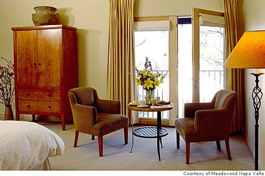 Inside the King Deluxe room at the Inn at Southbridge, St. Helena, Cailf. Photo: Courtesy Of Meadowood Napa Valle