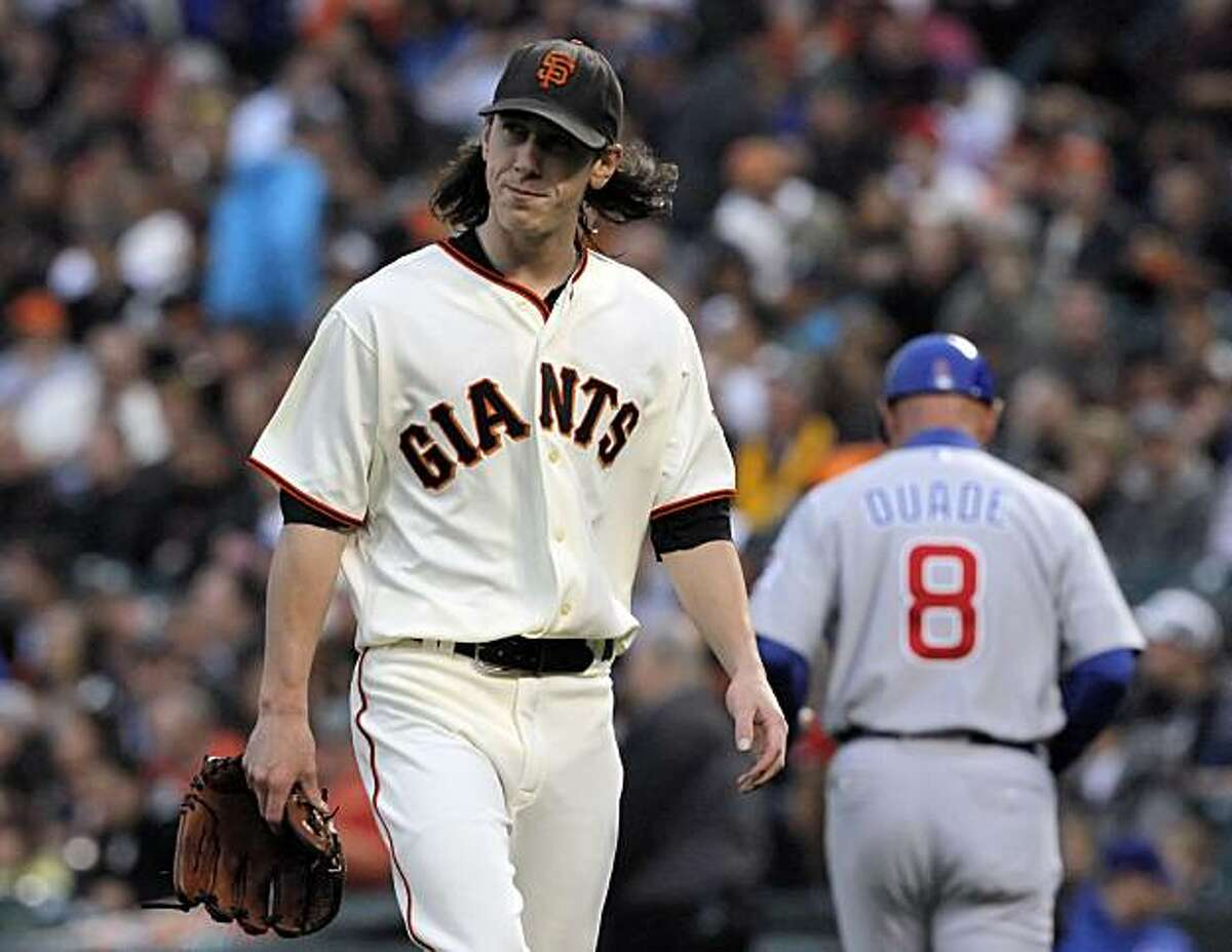 Tim Lincecum comes off the mound at the end of the third inning Tuesday at AT&T Park.