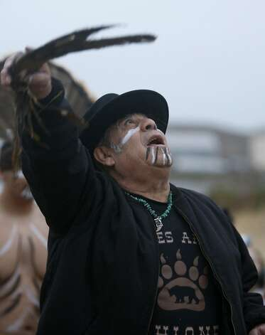 Tribal Chairman Tony Cerda leads an Ohlone sunrise ceremony at Yosemite Slough in San Francisco, Calif., on Tuesday, Aug. 10, 2010. Tribal representatives will appear before the Board of Supervisors to urge inclusion in the committee overseeing the redevelopment of the Hunters Point Shipyard. Photo: Paul Chinn, The Chronicle