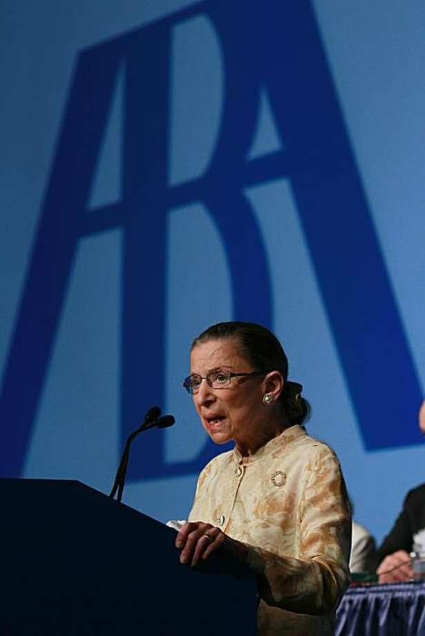 SAN FRANCISCO - AUGUST 09:  U.S. Supreme Court justice Ruth Bader Ginsburg speaks to delegates at the American Bar Association (ABA) House of Delegates meeting August 9, 2010 in San Francisco, California. Justice Ginsburg was honored with the prestigous ABA Medal, the Bar Association's highest honor. Photo: Justin Sullivan, Getty Images