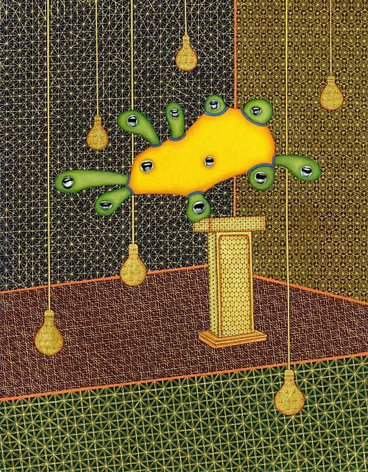 """""""I Have a Pre-Existing Condition"""" (2010) pigment and gold on paper by Alexander Gorlizki"""