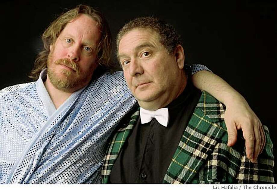"""Actor Kurt Weitzmann (left) who plays Jesus, and Howard Stone (right) who will be the host in San Francisco, Calif, on Wednesday, December 17, 2008.  They will be performing in """"The Jesus Roast: A Celebrity Roast of Jesus H. Christ"""". Photo: Liz Hafalia, The Chronicle"""