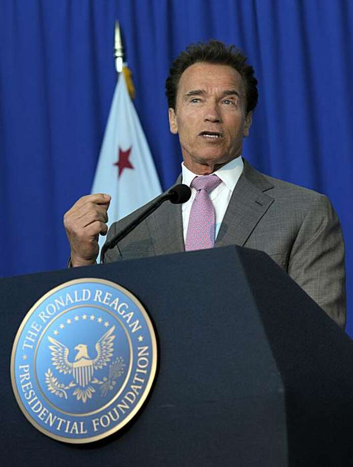 Gov. Arnold Schwarzenegger speaks at a ceremonial signing for California Senate Bill 944 by California Sen. George Runner and Assembly Bill 1911 by California Assembly Republican Leader Martin Garrick honoring President Ronald Reagan for his life's accomplishments and contributions to California on Wednesday, July 28, 2010, at the Ronald Reagan Presidential Library in Simi Valley, Calif. Photo: Adam Lau, AP