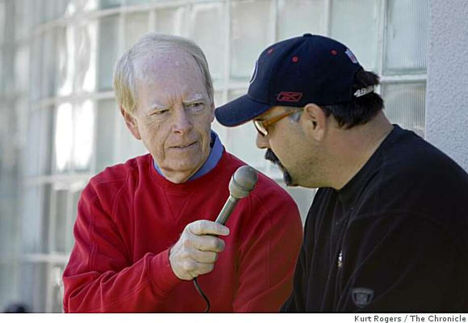 (left)Joe Starkey interviews Defensive Coordinator Greg Manusky out side at 49er headquarters for one of his last interviews before he retires from being the 49er announcer after this Sundays Game. . on Friday  Dec 26,  2008 in Santa Clara , Calif Photo: Kurt Rogers, The Chronicle