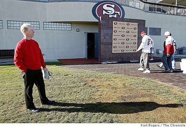 The voice of the San Francisco 49ers Joe Starkey stands out side the 49ers locker room as he waits for Defensive Coordinator Greg Manusky for one of his last interviews before he retires from being the 49er announcer after Sundays Game. . on Friday  Dec 26,  2008 in Santa Clara , Calif Photo: Kurt Rogers, The Chronicle