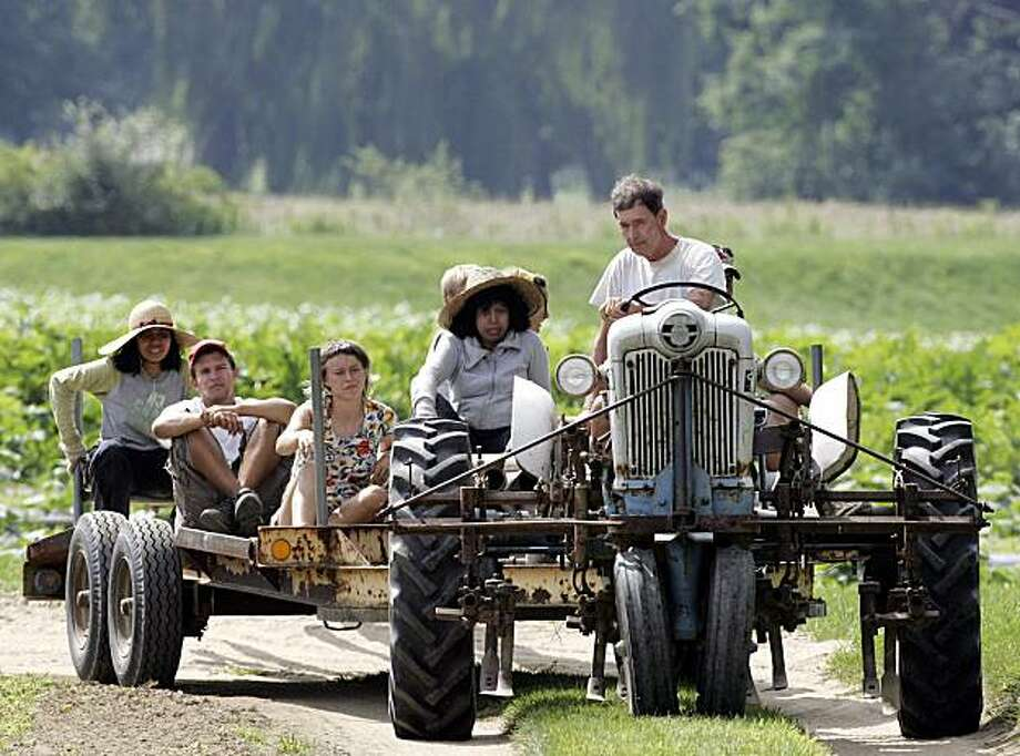In this photo taken Thursday July 29, 2010 Peter Fabian drives the picking crew to the fields at Tuttle Farm in Dover, N.H. Long regarded as the country's oldest family-run farm, the Tuttle farm in Dover is up for sale. Photo: Jim Cole, AP