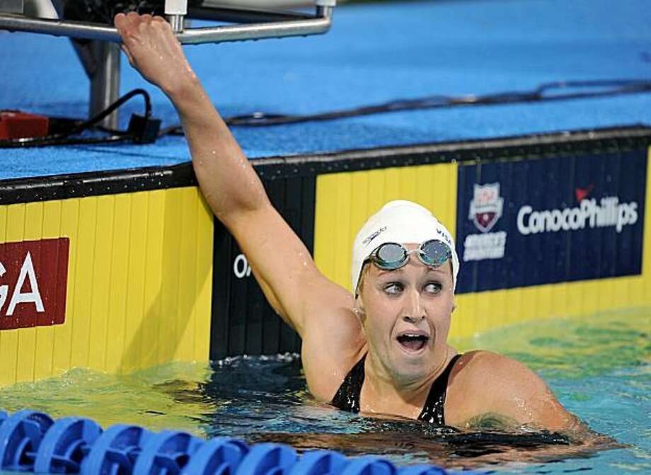 IRVINE, CA - AUGUST 03:  Katie Hoff reacts to her first place finish in the Women 400 LC Meter Final at the William Woollett Jr. Aquatics Complex on August 3, 2010 in Irvine, California. Photo: Harry How, Getty Images