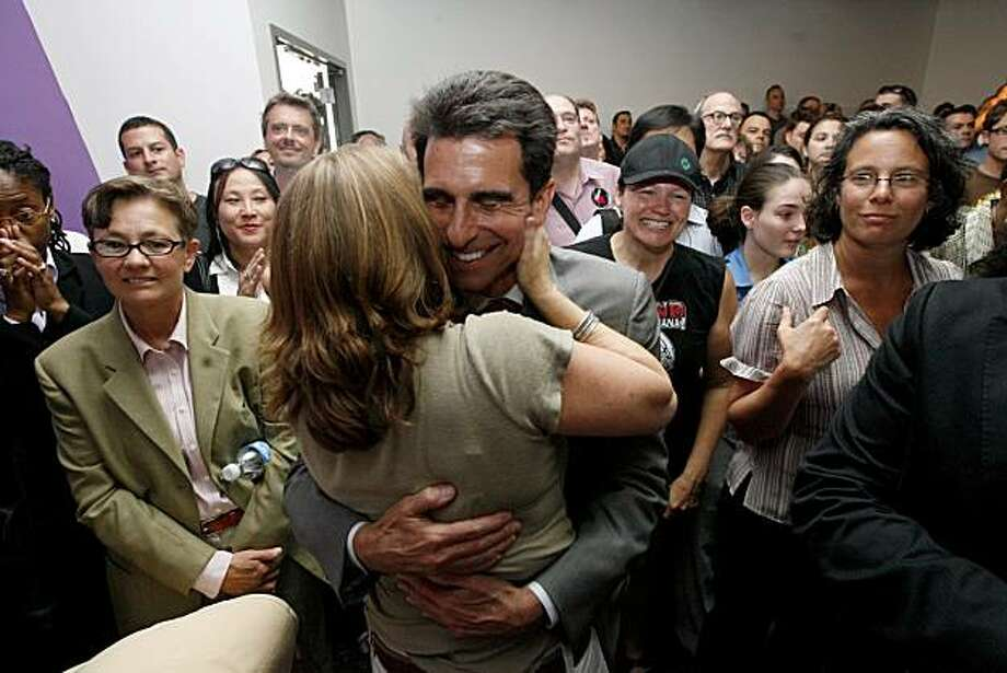 Assemblyman Mark Leno hugs Kate Kendell, the Executive Director of the National Center for Lesbian Rights, at the CELEBRATION OF LOVE AND FAMILY AT THE LGBT Community Center, main community event to celebrate Calif. Supreme Court decision to legalize gay marriage, in San Francisco, Calif.  on Thursday May 15, 2008. Katy Raddatz / The San Francisco Chronicle Photo: Katy Raddatz, The Chronicle