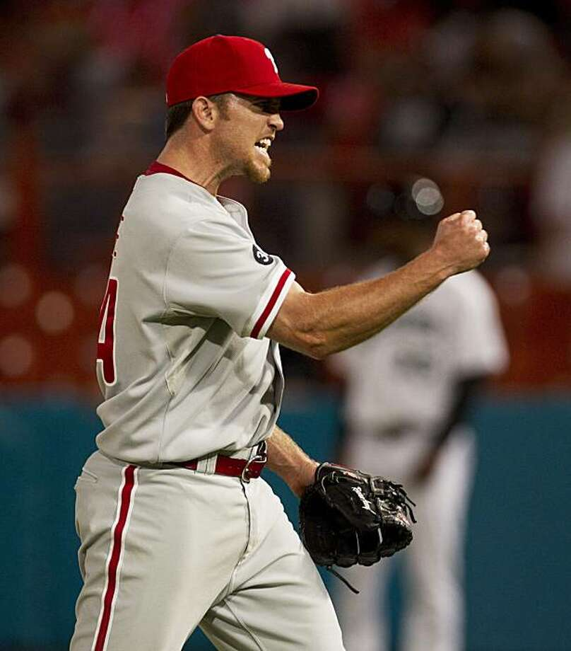 Philadelphia Phillies relief pitcher Brad Lidge celebrates after finishing off the 10th inning against the Florida Marlins during a baseball game on Thursday, Aug. 5, 2010, Miami.  The Phillies won 5-4. Photo: J Pat Carter, AP