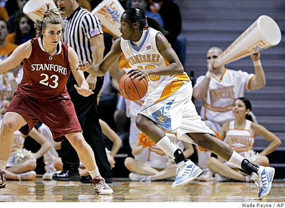 Tennessee's Shekinna Stricklen (40) drives against Stanford's Jeanette Pohlen (23) during the second half of an NCAA college basketball game Sunday, Dec. 21, 2008, in Knoxville, Tenn. Stricklen scored a career-high 25 points in the 79-69 overtime win. Pohlen scored 16 points. (AP Photo/Wade Payne) Photo: Wade Payne, AP