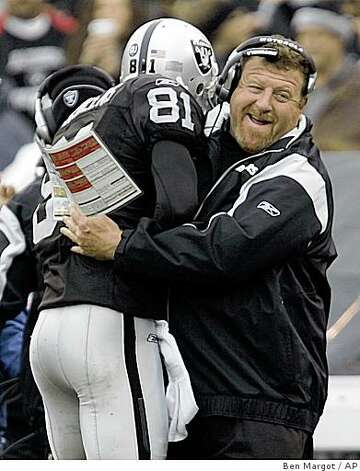 Oakland Raiders wide receiver Chad Schilens (81) is embraced by coach Tom Cable after scoring a touchdown against the Houston Texans during the first quarter of an NFL football game Sunday, Dec. 21, 2008, in Oakland, Calif. (AP Photo/Ben Margot) Photo: Ben Margot, AP