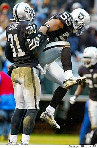 Oakland Raiders Jon Alston (55) celebrates with teammate Hiram Eugene after the Raiders stopped the Houston Texans near the goal line in the fourth quarter of a game, Sunday, Dec.21, 2008, in Oakland, Calif. The Raiders beat the Texans 27-16. Photo: George Nikitin, AP