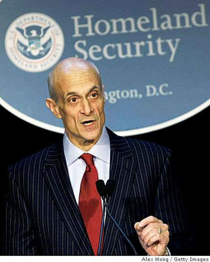 WASHINGTON - DECEMBER 18:  U.S. Secretary of Homeland Security Michael Chertoff speaks at the Riggs Library of Gerogetown University December 18, 2008 in Washington, DC. Chertoff reported on the department's accomplishments in the year of 2008.  (Photo by Alex Wong/Getty Images) Photo: Alex Wong, Getty Images