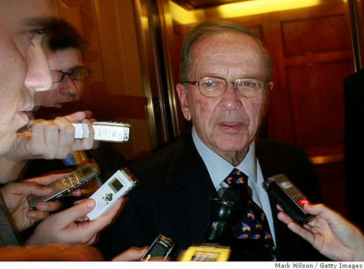 WASHINGTON - NOVEMBER 20: Sen. Ted Stevens (D-AK) is trailed by reporters as he walked off the Senate Floor at the U.S. Capitol November 20, 2008 in Washington DC. Stevens was convicted last month on seven counts of corruption and also recently lost his Senate Seat. (Photo by Mark Wilson/Getty Images)