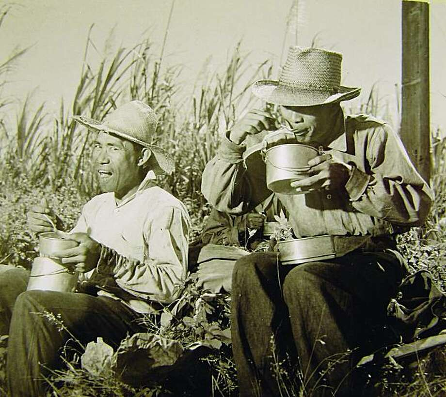 Filipino laborers, from decades past, break for lunch in the sugarcane fields.Ê Photo: Hawaii State Archives