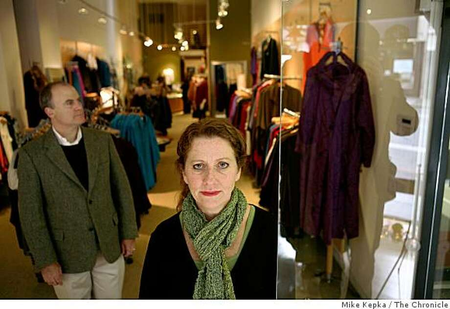 Terry (r) and John Kiskaddon, who own and operate Harper Greer, a plus-sized women's store in Union Square, pose for a portrait on Friday, Dec. 12, 2008 in San Francisco, Calif. The couple had a store in SOMA for 18 years, but closed it to open a new store in Union Square and now are trying to stay afloat despite a difficult retail environment. Photo: Mike Kepka, The Chronicle