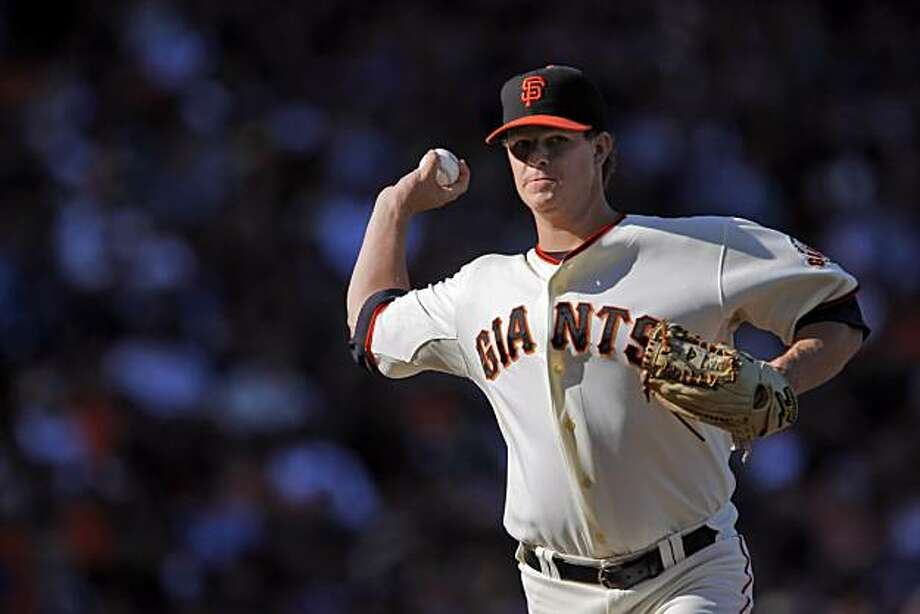 Matt Cain throws to first in the second inning. Cain won against the Dodgers for the first time in his career. The San Francisco Giants played the Los Angeles Dodgers at AT&T Park in San Francisco, Calif., on Sunday, August 1, 2010. The Giants won the game 2-0, and swept the series. Photo: Carlos Avila Gonzalez, The Chronicle