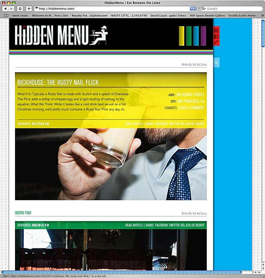 a screenshot of the website Hiddenmenu.com for website of the week. Photo: HiddenMenu.com