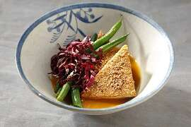 Spiced Crispy Tofu in Ginger Broth in San Francisco, Calif., on July 28, 2010. Food styled by Britt Billmaier.